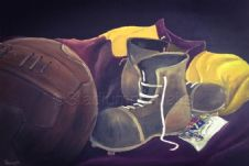 Bradford City  - Old Boots and Ball  20'' x 30'' Box Canvas Print